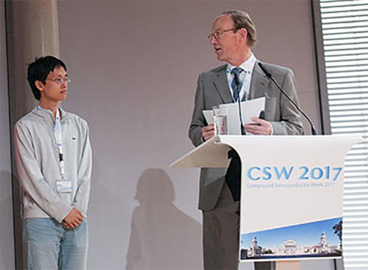 Wenjie Lu wins Best Student Paper Award at Compound Semiconductor Week 2017 in Berlin